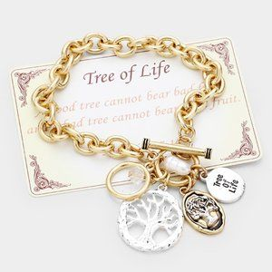 """TREE OF LIFE"" Pearl Charm Toggle Bracelet"